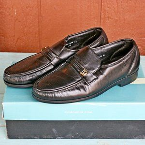 Florsheim Black Riva Leather Loafers Shoes 9.5D